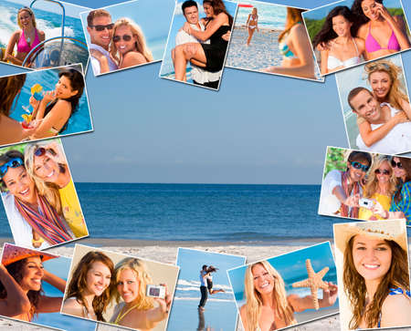 Montage of multiethnic mixed race friends and couples men women enjoying a healthy active lifestyle on holiday vacation, at the beach playing games, taking pictures together, drinking cocktails and on a speed boat   photo