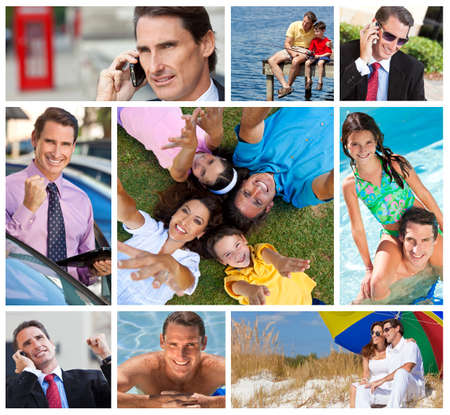 Montage of a successful working man, father and husband balancing working   family life, on cell phone, using tablet computer, at beach, swimming pool   fishing  Stock Photo