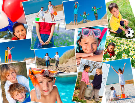 Montage of interracial group of happy children, girls and boys playing having fun in swimming pool, at the beach in fields and in the garden  photo