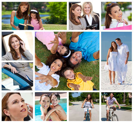 Montage of a successful working woman, mother and wife balancing modern working   family life, on cell phone, using tablet computer, at beach, swimming pool   reading with her daughter photo