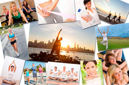 Montage of interracial men, women people working out at a gym, active exercising on the beach, yoga, jogging running and enjoying a healthy fitness lifestyle  photo