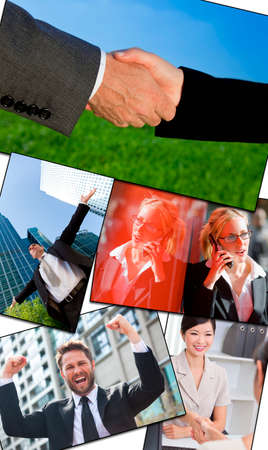 Montage of a successful business men   women businessmen, businesswomen using mobile cell phone, in meetings making deals   celebrating success photo