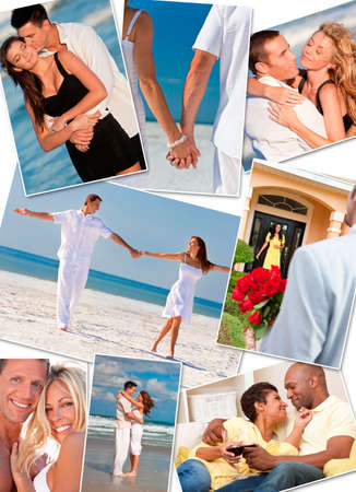 Montage of happy, romantic, interracial mixed race couples enjoying a relaxing lifestyle, at the beach embracing, holding hands, drinking wine at home in love. photo