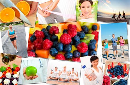 mannen en vrouwen: Montage van interraciale mannen, vrouwen mensen uit te werken op sportschool, actief oefenen op het strand, yoga, joggen lopen en genieten van gezonde voeding, groenten & fruit
