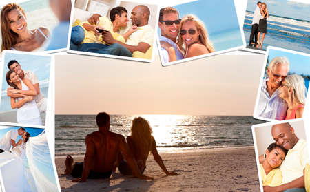 Montage of happy, romantic, mixed race couples enjoying a relaxing lifestyle, sunset beach, wedding, drinking wine at home in love. photo