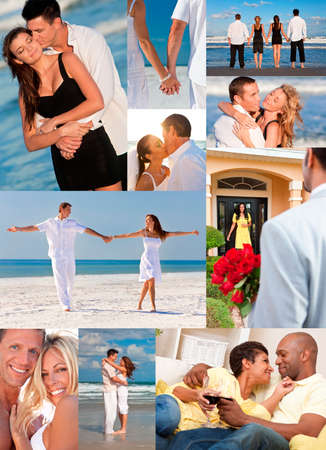 Montage of happy, romantic, mixed race couples enjoying a relaxing lifestyle, at beach embracing, holding hands, drinking wine at home in love. photo