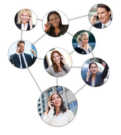 Team communication montage of interracial successful business men and women using mobile cell phones to social network photo