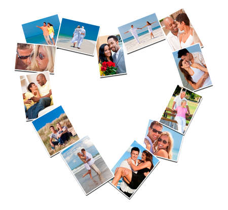 Heart shaped montage of happy, romantic, mixed race couples enjoying romantic lifestyle, at beach embracing, holding hands, drinking wine at home in love. photo