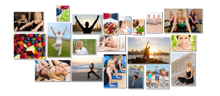 Montage of interracial men, women people working out at a gym, active exercising on the beach, yoga, jogging running and enjoying a healthy fitness lifestyle. photo