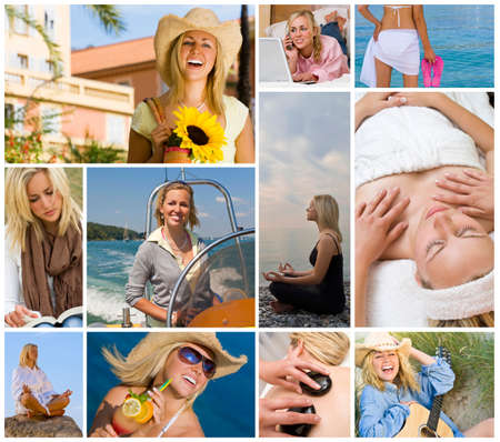 Montage of beautiful female girl young woman enjoying a healthy active lifestyle, shopping, relaxing using laptop computer, on holiday vacation enjoying yoga, boat trip, spa treatments photo
