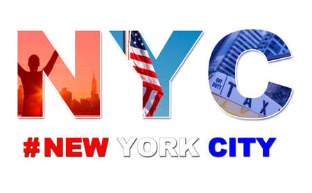 New York City America travel & tourist montage, The Empire State Building, skyline, yellow taxi cab, stars and stripes flag, hashtag and NYC  photo