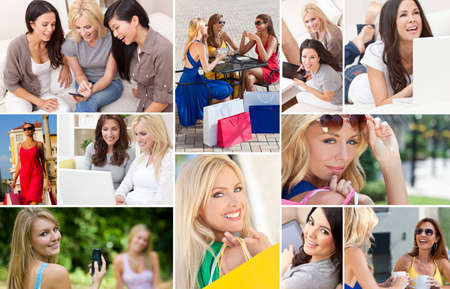 Montage of interracial mixed race group of women enjoying a modern active lifestyle relaxing at home, outside, on line using laptop computer, mobile cell phone, shopping, drinking tea and coffee photo