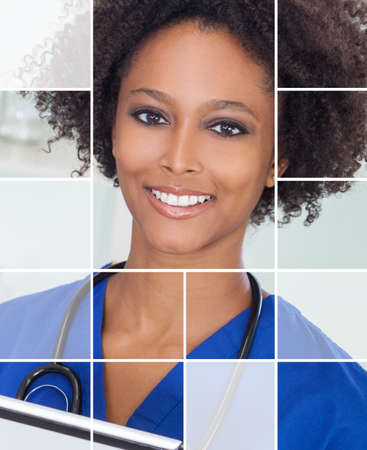 Grid montage of an african american woman, nurse doctor in hospital with a tablet computer and stethoscope.  photo