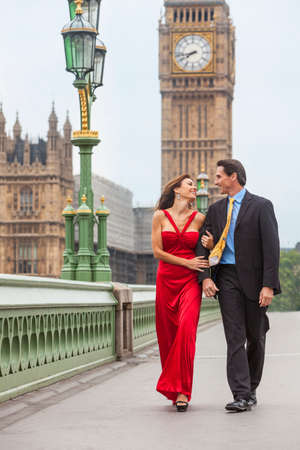 romantic man: Romantic man and woman couple on Westminster Bridge with Big Ben in the background, London, England, Great Britain Stock Photo