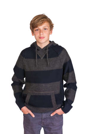 teenaged boys: White background studio photograph of a standing male teeange blond boy child wearing a hoody