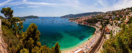 maritimes: Panorama Bay of Villefranche Sur Mer and Cap Ferrat in the Alpes Maritimes department in the Provence Alpes Cote dAzur region on the French Riviera Stock Photo