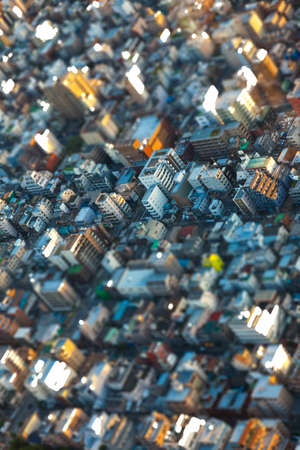 overcrowded: Tilt-Shift effect aerial view of houses over in Tokyo City, Japan, Asia