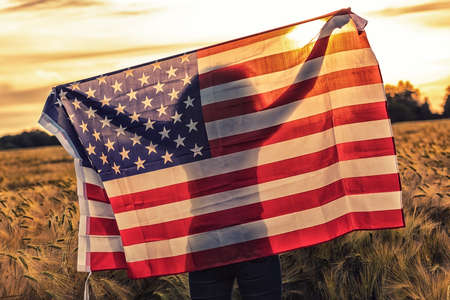 Silhouette of African American girl teenager female young woman in field of wheat or barley crops holding USA stars and stripes flag in golden sunset evening sunshine Standard-Bild