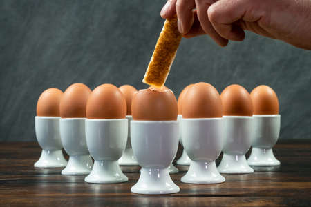 Person dipping toast soldier into one boiled egg of a group of eggs in white egg cups on a wooden table Banque d'images - 114804867