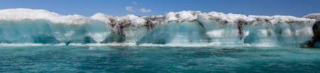 Panoramic climate change global warming concept, huge melting Icebergbreaking off the Breidamerkurjokull Glacier into Jokulsarlon Lagoon, Iceland panorama web banner
