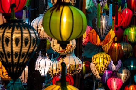 Traditional Vietnamese colorful lanterns at night on the streets of Hoi An, Vietnam
