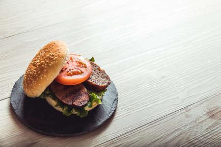 Cooking vegan food. Seitan is vegan meat for veggie burger Stok Fotoğraf