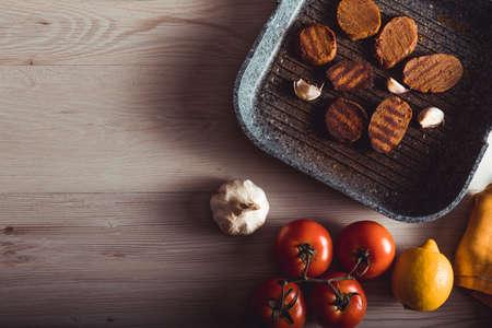 Vegan gastronomy, seitan is veggie meat. Copy space