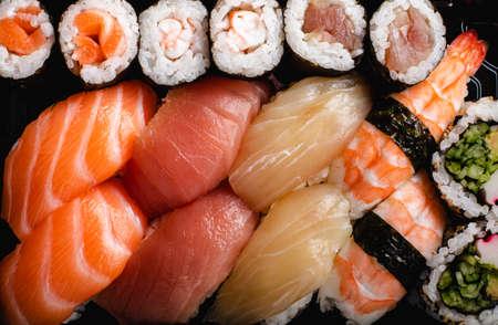 Sushi Set served. Sushi variety