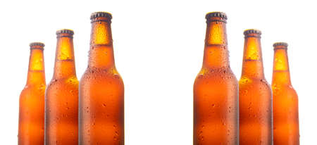 Set of six beer bottles isolated on white background