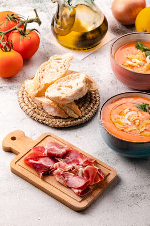 Salmorejo Soup With Ham And Eggs In A Bowl