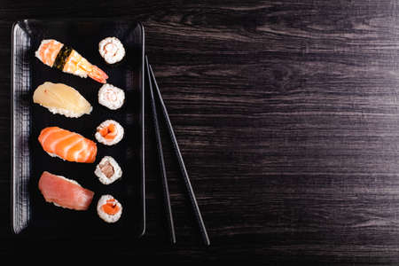 Set of sushi food with copy space Standard-Bild