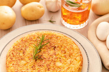 Spanish omelette with potatoes and onion, typical Spanish cuisine. Tortilla espanola.