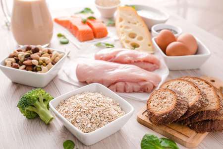 Healthy eating food. Carbs and protein for bodybuilding