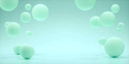 Floating spheres 3d rendering empty space for product show