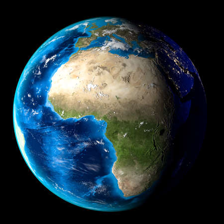 Planet Earth with clouds, Europe and Africa. Black background. 3d render Archivio Fotografico