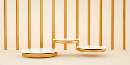 3d render, abstract and modern minimalist background with white marble and gold. Empty platform