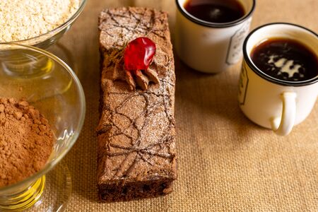 Bread, chocolate cake, coffee for a morning with a lot of happiness and enjoy with the people you love.