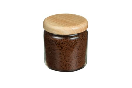 crush on: isolated a jar of crush coffee bean.