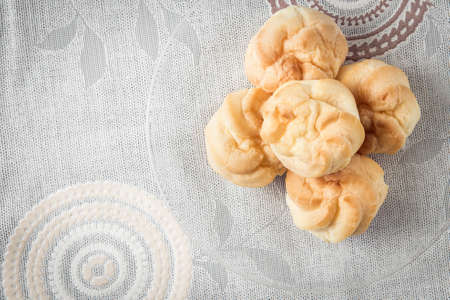 choux: a plate of choux cream on the table