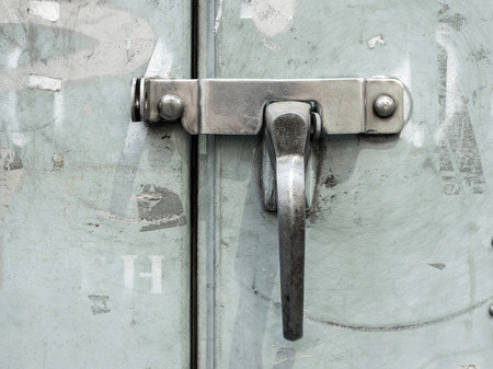 door bolt: close up  lock  metal door bolt Stock Photo