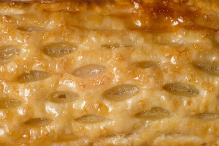 close up sweet corn pie as a background