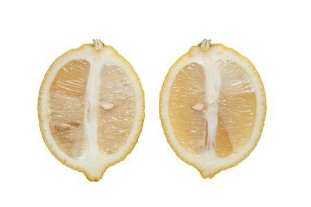Isolated sliced lemon fruit on a white background