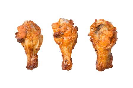 Isolated grilled chicken wing on a white background