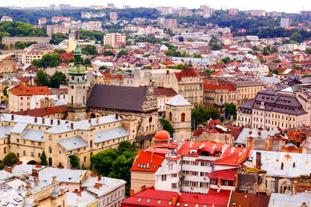 lvov: Top view on colorful roofs and houses of old European city of Lvov in Ukraine