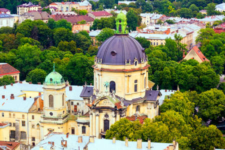 lvov: Top view house roof and Cathedral of old European city Lvov in Ukraine