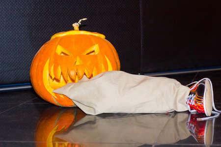 Halloween pumpkin head Jack carved