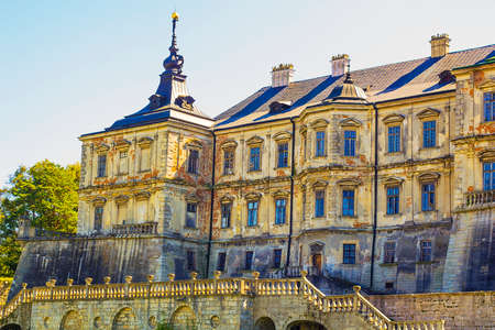 Old medieval Pidhirtsi Castle 17th century in Ukraine against blue sky Editorial