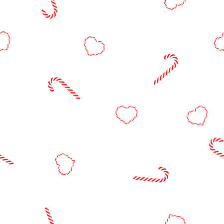 Seamless pattern Christmas candy caramel spirals and hearts lollipops on white background, vector, eps 10