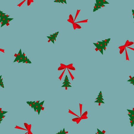 Seamless pattern green Christmas fir trees big and small, red balls and bows on blue background