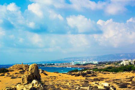 Cyprus Island sea coast landscape. Rocky beach against blue Mediterranean sea